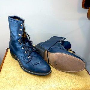 Vintage Laredo Leather Roper Boots (Navy Blue)